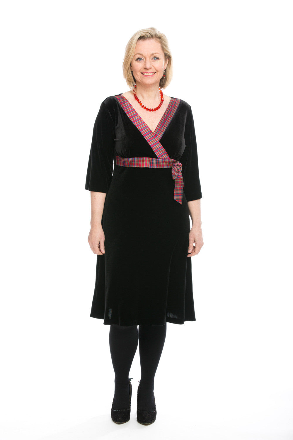 Mhairi velvet dress with Mini Red Stewart tartan trim