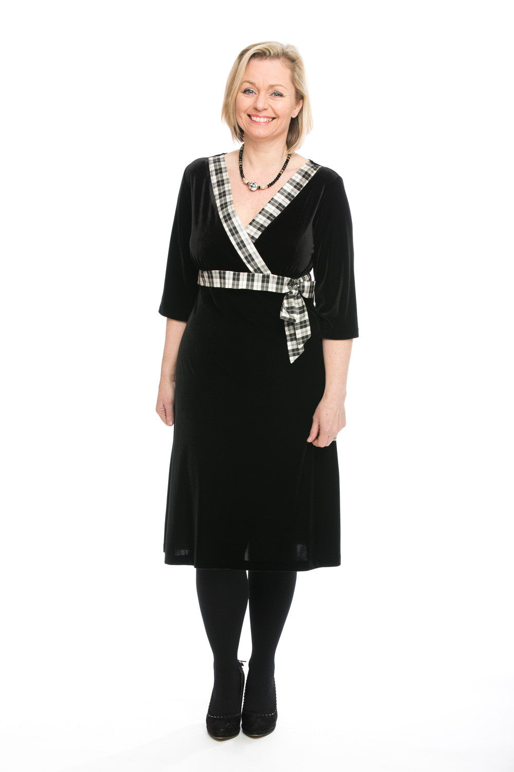 Mhairi velvet dress with Menzies tartan trim