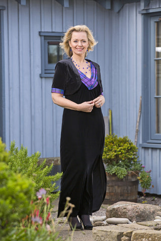 Isla dress and bolero in velvet with Wardlaw tartan