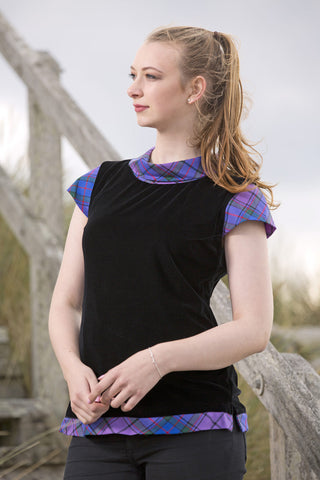Maggie velvet top with Wardlaw tartan trim