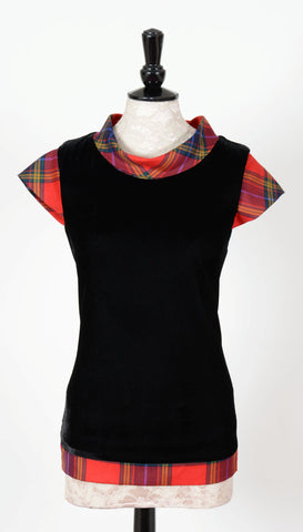Maggie velvet top with Tartan Touch Red tartan trim