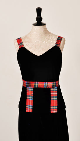Heather velvet sleeveless top with Red Stewart Tartan