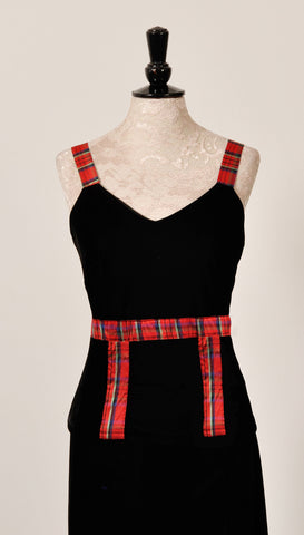 Heather velvet top with Red Stewart Tartan trim