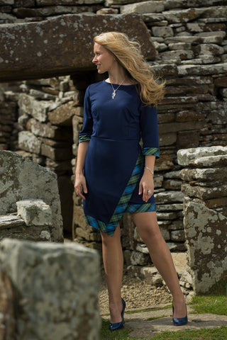 KAILEE CHEEKY AND SMART ASYMMETRICAL DRESS TARTAN TOUCH BLUE