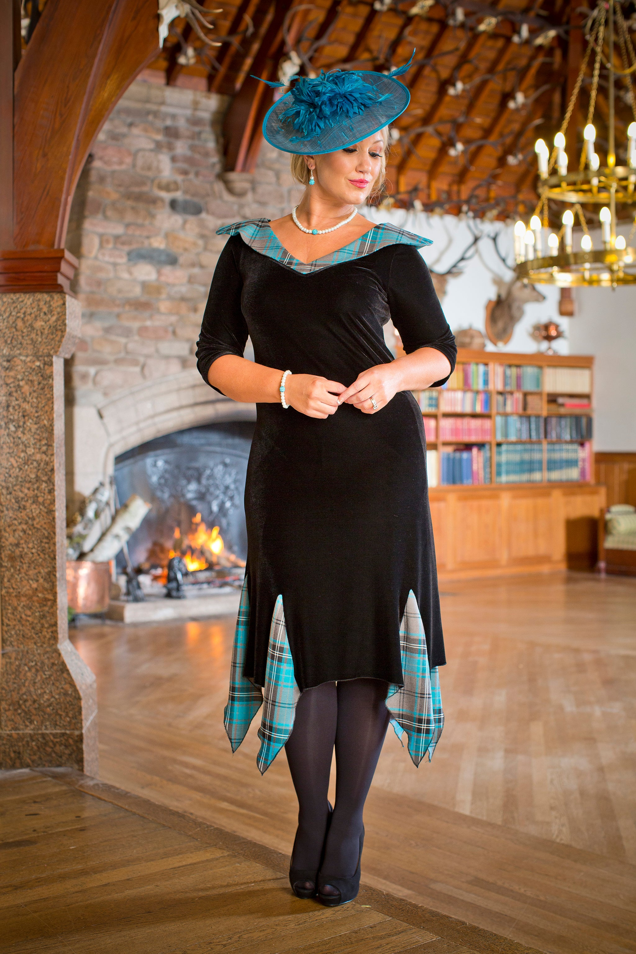 Fiona dress in tartan touch turquoise