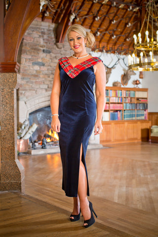 Isla dress in velvet with Red Stewart tartan