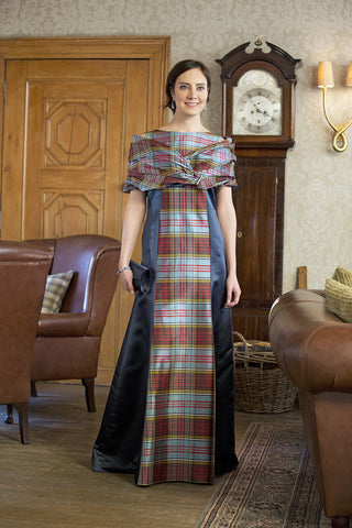 BEAUTIFUL LONG EVENING GOWN WITH SILK TARTAN AND NAVY SATIN