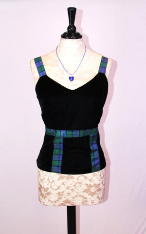 Heather velvet sleeveless top with Flower of Scotland tartan