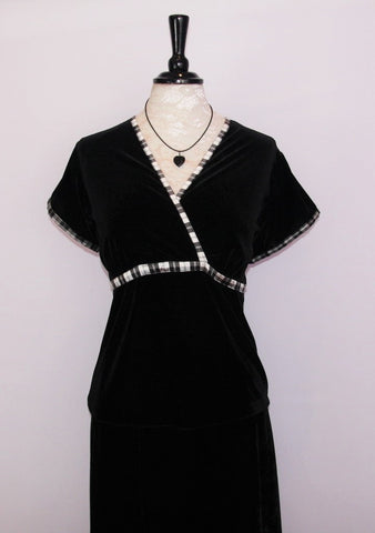 Morag v neck velvet top with Menzies Tartan trim