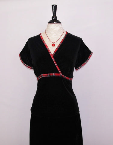 Morag velvet top with Red Stewart Tartan trim