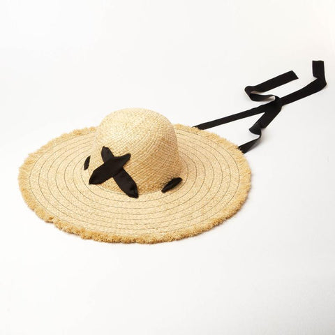 Raffia Straw Beach Hat with Ties 671028 - muchique