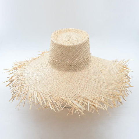 Natural Woven Raffia Straw Wide Brim Beach Hat 671032 - muchique