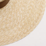 Wheat Straw Wide Brim Beach Hat with Brown Ties 671040 - muchique