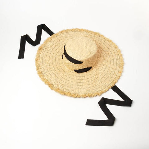 Natural Raffia Beach Hat with Ribbon Pull-through Ties 671067 - muchique