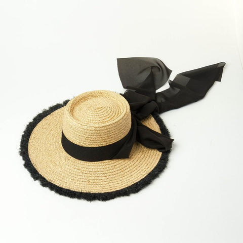 Natural Raffia Boater Sunhat with Black Grosgrain Band and Chiffon Scarf 671069 - muchique