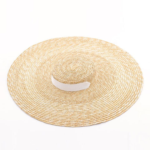 Oversized/ Wide Brim Wheat Straw Sun Hat Beach Hat with Ribbon Ties 671073 - muchique