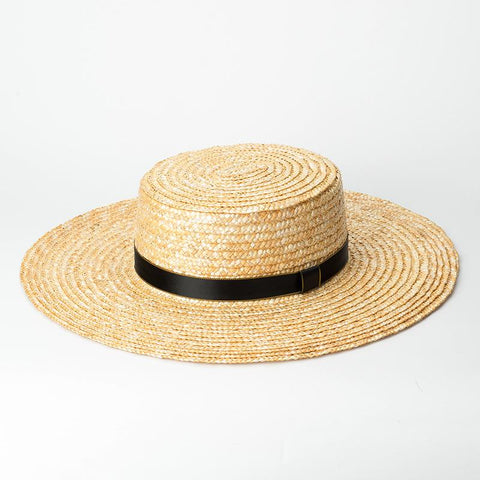 Sewn Wheat Straw Sun Hat 681005 - muchique