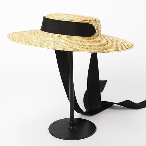 Wide Brim Straw Boater Hat with Ribbon Ties 681035 - muchique