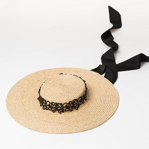 Raffia Straw Boater Sun Hat with Ties 681066 - muchique