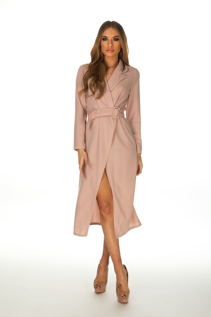 Rose Trench Coat Dress With Belt - Pink