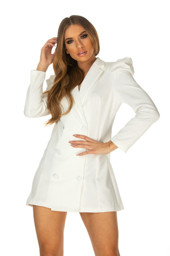 Kali Long Sleeve Blazer Dress With Puff Detailing