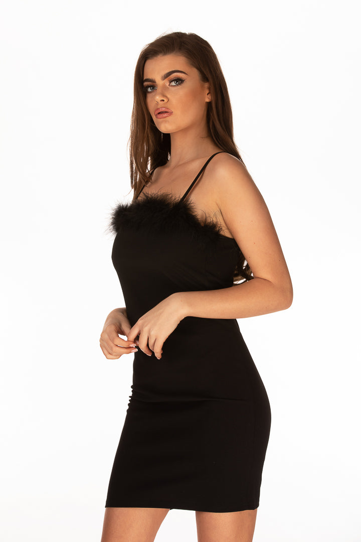 Faux Fur Detail Cami Dress