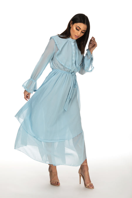 Merlyn High Neck Frill Detail Flowy Dress - Blue