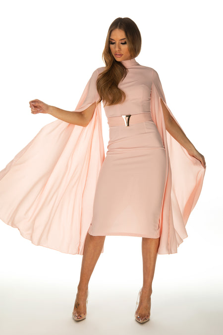 Kyla Split Sleeve Belted Pencil Dress