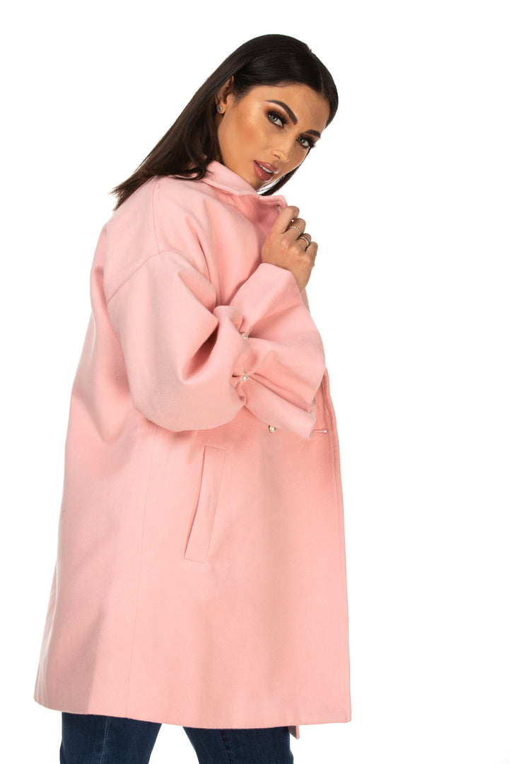 Miley Pink Ruffle Sleeve Coat With Pearl Buttons