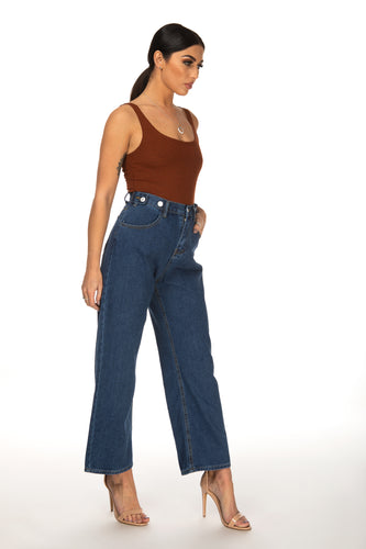Courtney Button Decoration Wide Leg Jeans