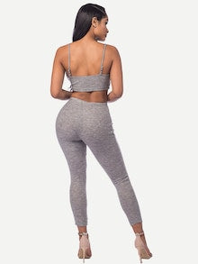 Jessica Marled Knit Crop Top With Leggings