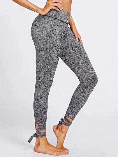 Molly Lace Up Hem Marled Knit Leggings