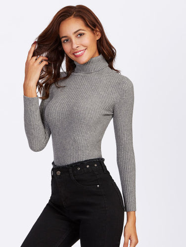 Olive Rolled Neck Ribbed Sweater