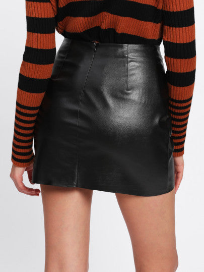 Holly O-Ring Zip Detail Leather Skirt