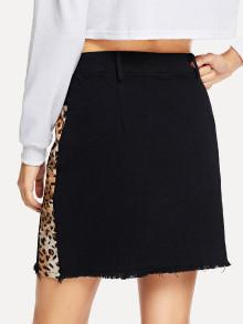 Vanessa Leopard Panel Zip Skirt