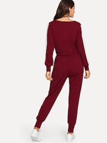 Katy Contrast Panel Top With Drawstring Pants - Maroon