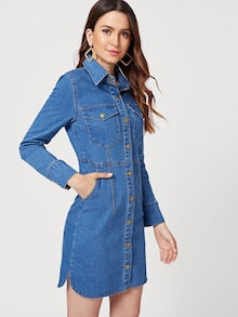 Naomi Single Breasted Denim Dress