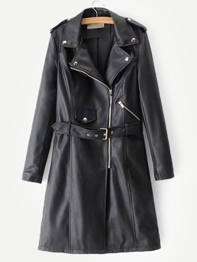 Sandy Belted Faux Leather Trench Coat