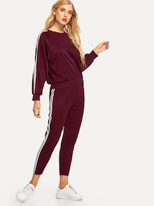 Anya Raglan Sleeve Sweatshirt & Tuxedo Stripe Sweatpants