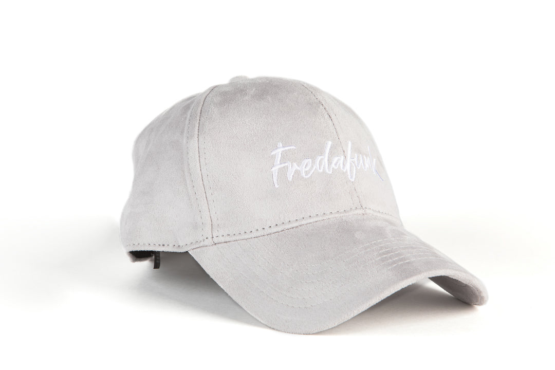 White On Grey FREDAFUNK Suede Cap