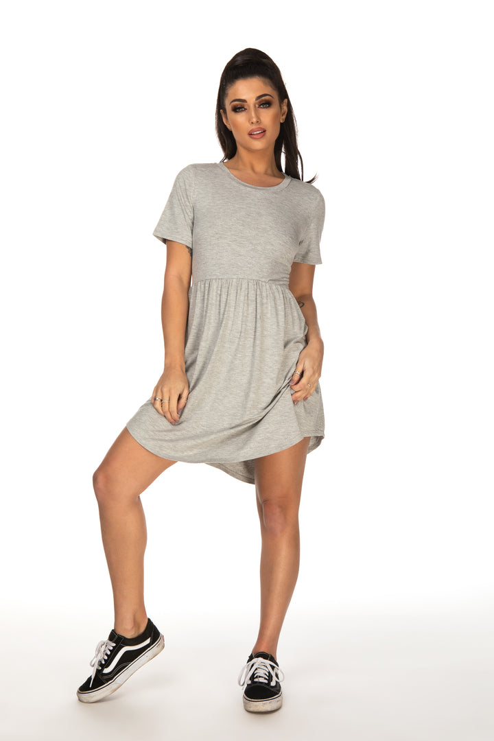 Maria Grey Curved Hem Tee Shirt Dress