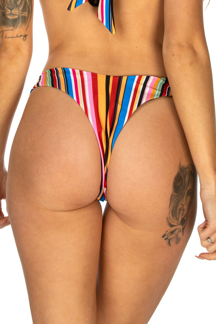 High Cut Striped Bikini Bottom