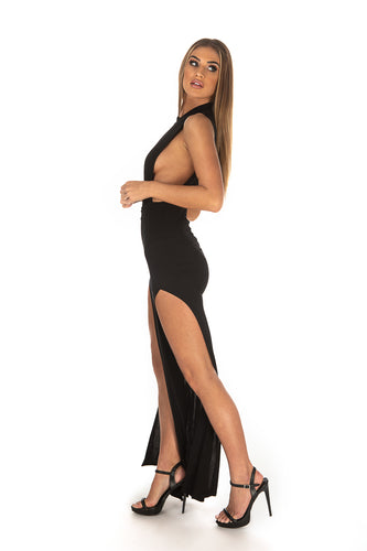 High Neck Mesh Back Double Slit Maxi Dress