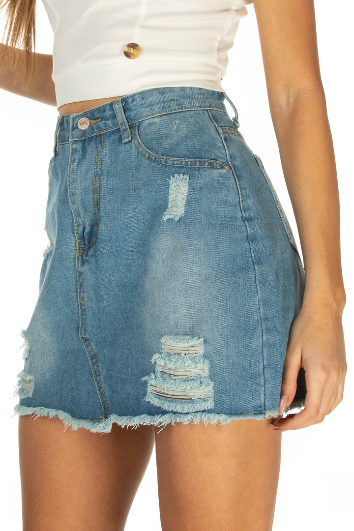 Piper Frayed Hem Distressed Skirt - Blue