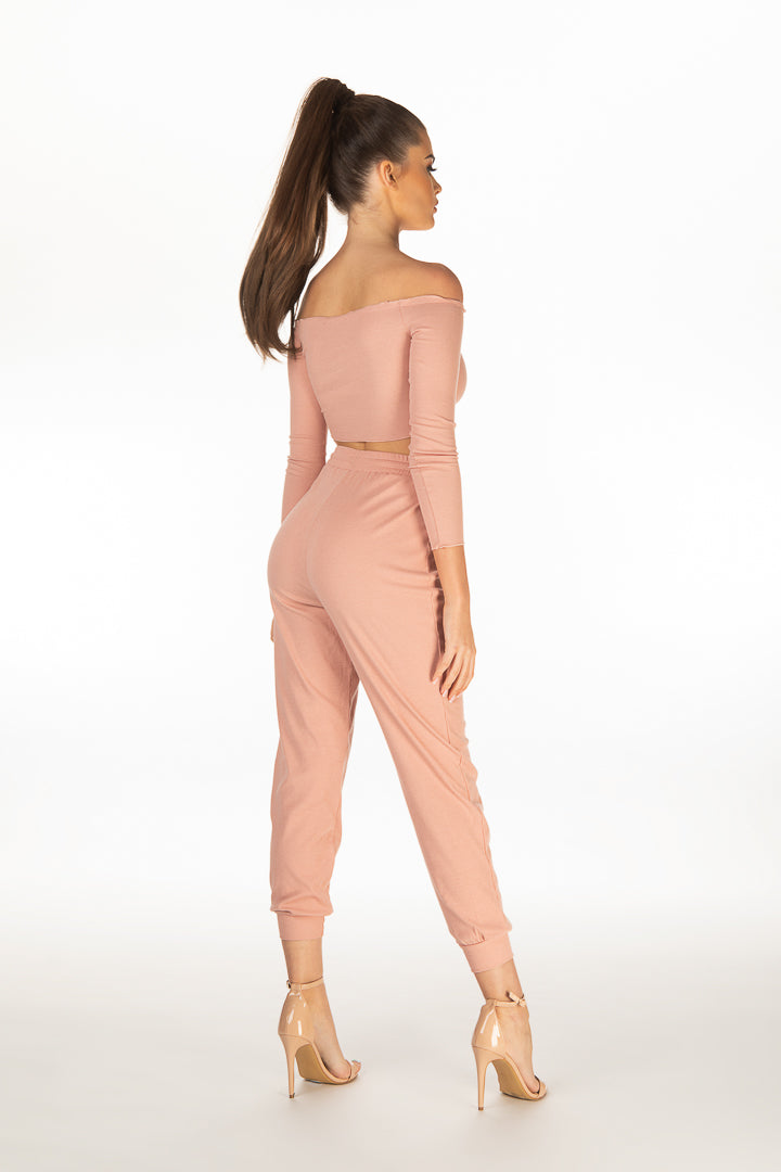 Rebecca Long Sleeve Bardot Top With Pants