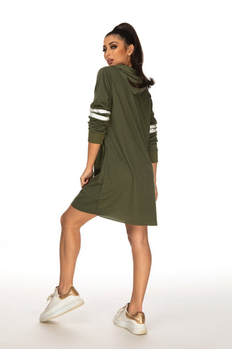 Aliyah Oversized Striped Sleeve Jumper - Khaki