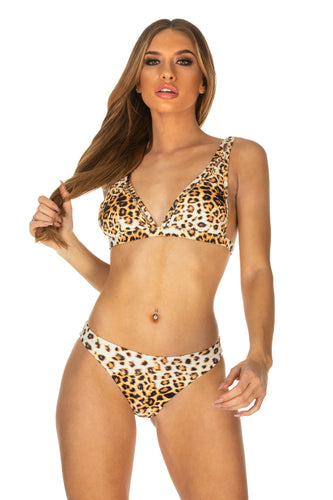 Leopard Print Triangle Design Bikini Top
