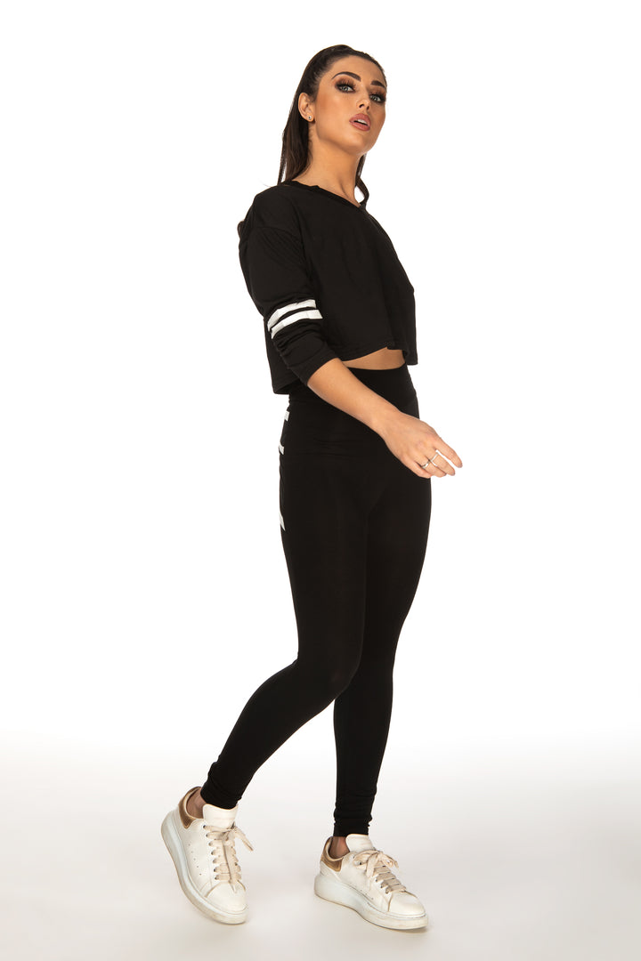 Kyra Cut Out Neck Varsity-Striped Tee - Black