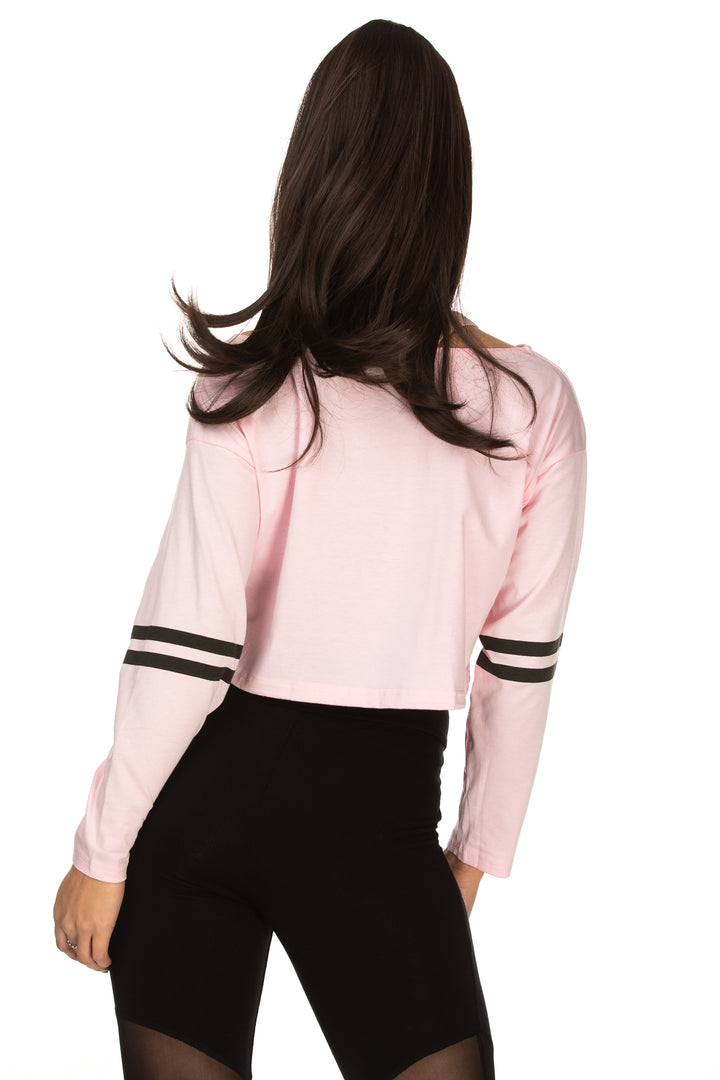 Thea Cut Out Neck Varsity-Striped Tee - Pink