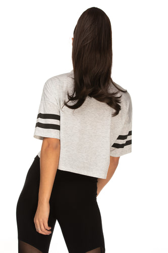 Claudia Grey Dropped Shoulder Seam Varsity Striped Tee